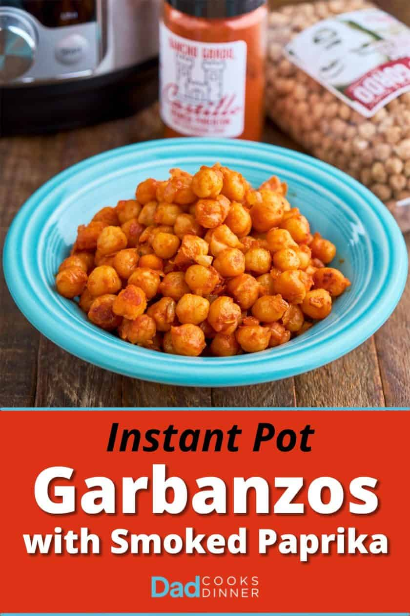 A bowl of garbanzos with Spanish smoked paprika, with a bag of garbanzos, a jar of smoked paprika, and an Instant Pot in the background