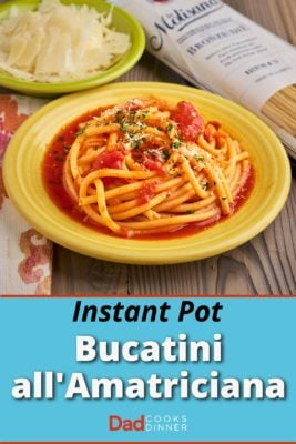 A plate of Bucatini all'Amatriciana, with a bowl of cheese and a bag of dried bucatini in the background