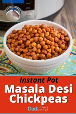 A bowl of desi chickpeas (Desi Chana) with an Instant Pot in the background