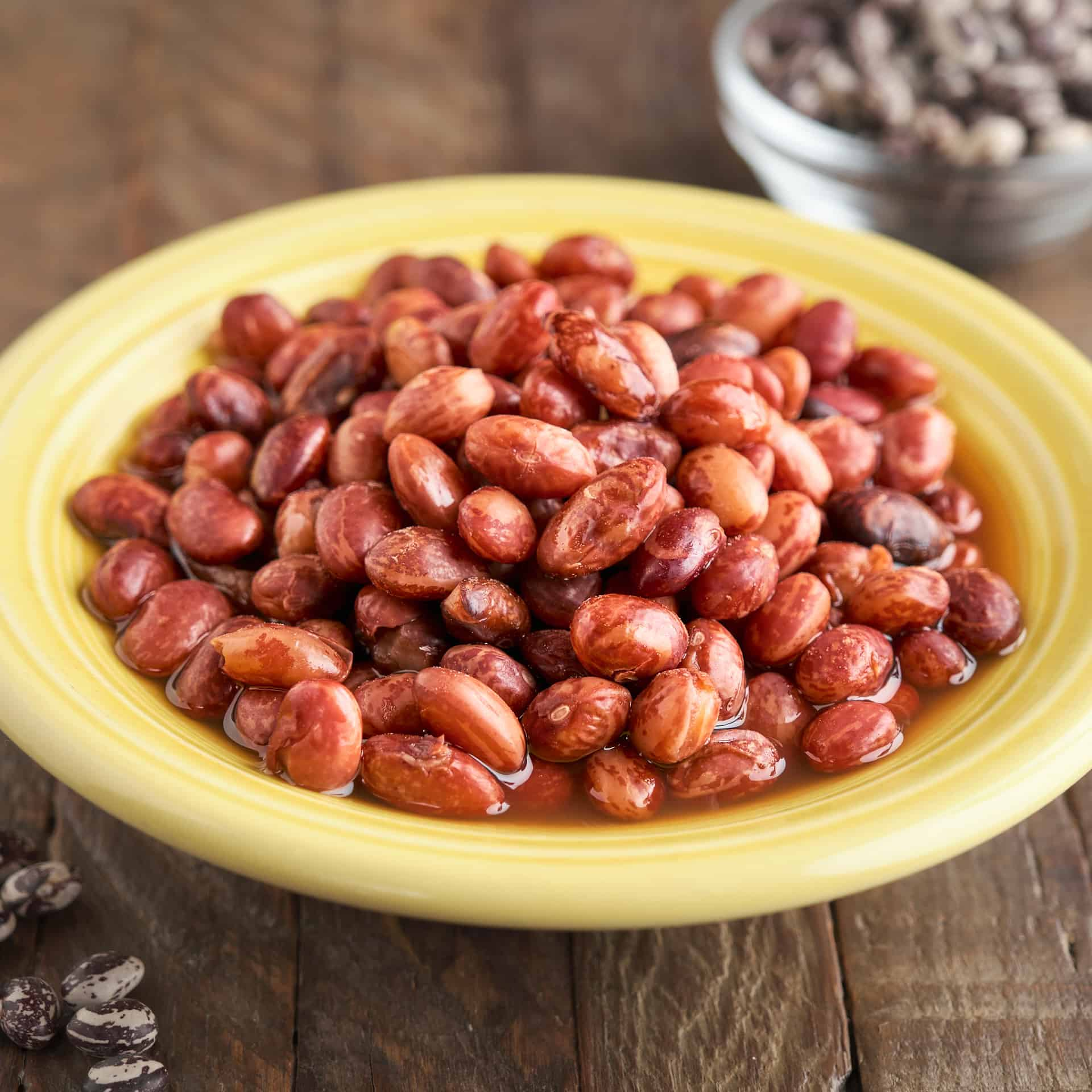 A bowl of Good Mother Stallard beans, with uncooked beans in the foreground
