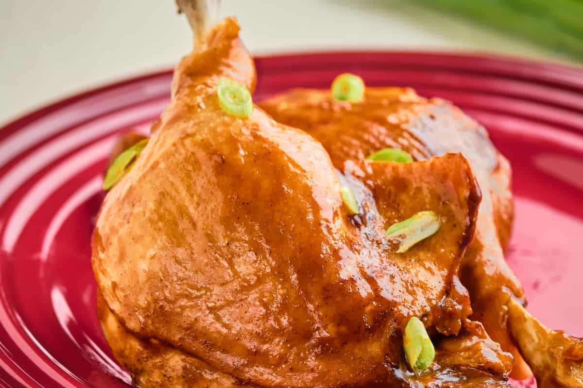 A pair of duck legs on a red plate with green onions in the background