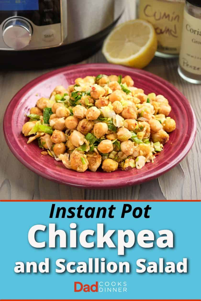 A plate of smashed chickpea and scallion salad, with a lemon, some spices, and an Instant Pot in the background