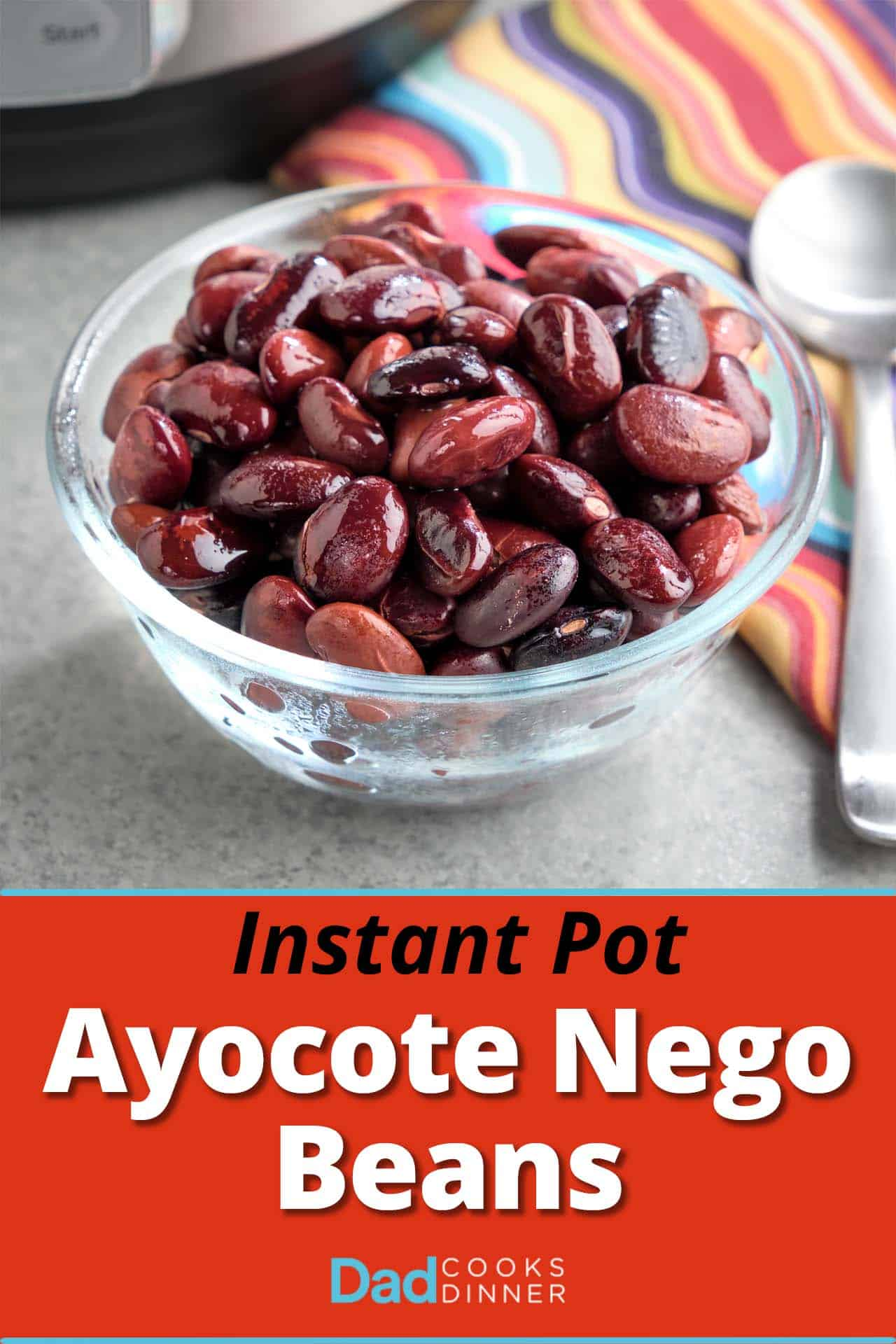 A bowl of cooked Ayocote Negro beans, with a spoon, a napkin, and a pressure cooker in the background