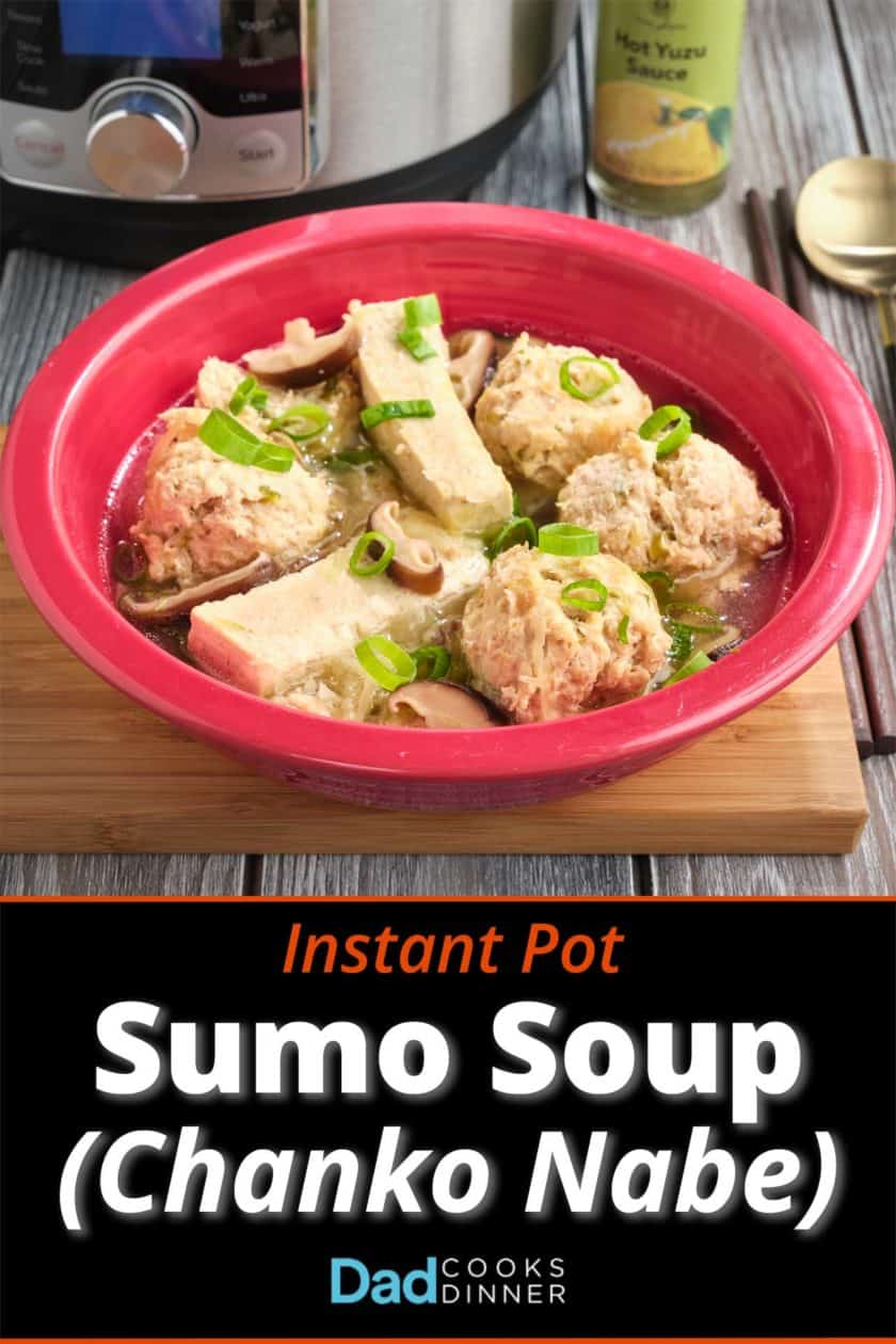 A bowl of sumo soup, with meatballs, tofu, mushrooms, and scallions, with an Instant Pot and Hot Yuzu Sauce in the background