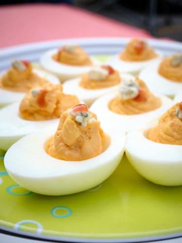 A plate of Buffalo deviled eggs